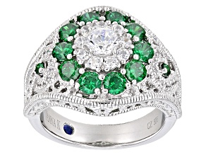 Pre-Owned Green And White Cubic Zirconia Platineve Ring 2.96ctw