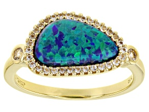 Pre-Owned Blue Lab Created Opal 18k Yellow Gold Over Sterling Silver Ring 0.29ctw
