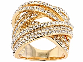 Pre-Owned White Crystal Gold Tone Cross Over Ring