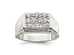 Pre-Owned White Cubic Zirconia Rhodium Over Sterling Silver Mens Ring