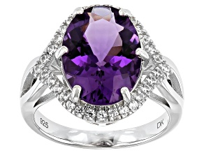 Pre-Owned Purple Amethyst Rhodium Over Sterling Silver Ring 5.74ctw