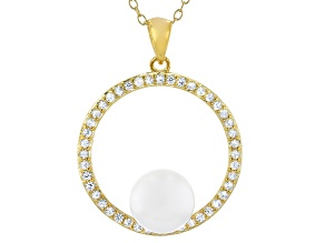 Pre-Owned White Cultured Japanese Akoya Pearl & White Zircon 14k Yellow Gold Over Sterling Silver Pe