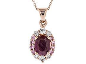 Pre-Owned Red Ruby 18k Rose Gold Over Silver Pendant With Chain 3.01ctw