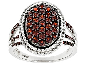 Pre-Owned Red Garnet Rhodium Over Sterling Silver Ring. 1.04ctw