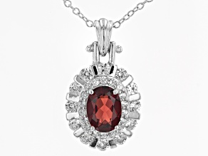 Pre-Owned Red Garnet Rhodium Over Sterling Silver Pendant With Chain. 1.94ctw