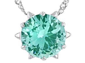 Pre-Owned Green Lab Created Spinel Rhodium Over Silver Solitaire Pendant With Chain 3.27ct