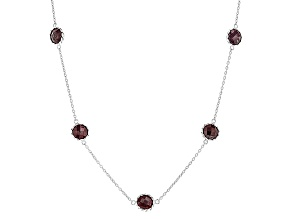 Pre-Owned Red Ruby Rhodium Over Sterling Silver Station Necklace 17.00ctw