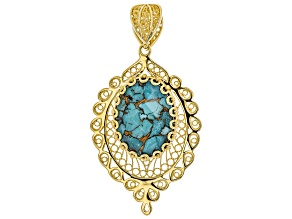 Pre-Owned Oval Turquoise Doublet 18K Yellow Gold Over Sterling Silver Enhancer