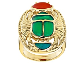 Pre-Owned Multi Stone 18K Yellow Gold Over Brass Egyptian Inspired Scarab Ring