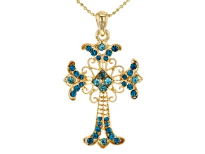 Pre-Owned Shiny Gold Tone Multi-Color Crystal Cross Pendant W/Chain