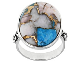 Pre-Owned Blended Turquoise & Pink Opal Rhodium Over Silver Ring
