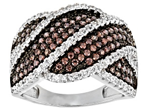 Pre-Owned Brown And White Cubic Zirconia Rhodium Over Sterling Silver Ring 2.06ctw