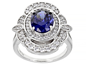 Pre-Owned Blue And White Cubic Zirconia Rhodium Over Sterling Silver Ring 5.57ctw