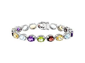 Pre-Owned Multi-Color Gemstone Rhodium Over Silver Tennis Bracelet 20.84ctw