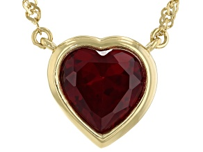 Pre-Owned Red Lab Created Ruby 18k Yellow Gold Over Sterling Silver Choker Necklace 4.35ct