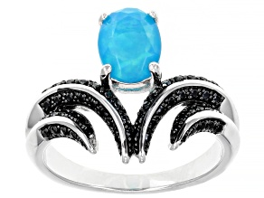 Pre-Owned Paraiba Blue Opal Rhodium Over Sterling Silver Ring 0.80ctw