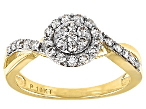 Pre-Owned White Diamond 10K Yellow Gold Cluster Ring 0.50ctw