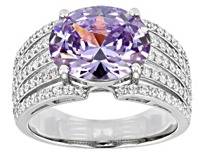 Pre-Owned Purple And White Cubic Zirconia Platinum Over Sterling Silver Ring 9.78ctw