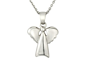 Pre-Owned Polished Sterling Silver Angel Pendant With 18 inch Chain