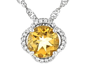 Pre-Owned Yellow Citrine Rhodium Over Silver Pendant With Chain 1.66ctw