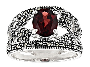 Pre-Owned Red Garnet Rhodium Over Sterling Silver Ring 1.70ctw