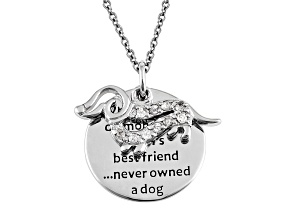 Pre-Owned .10 Cttw White Diamond Silver Dachshund inspirational Charm Pendant
