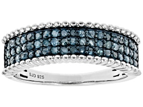 Pre-Owned Blue Diamond Rhodium Over Sterling Silver Multi-Row Ring 0.50ctw