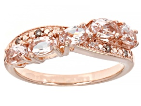Pre-Owned Pink Morganite 18k Rose Gold Over Sterling Silver Ring 0.75ctw