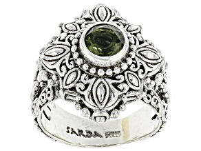 Pre-Owned Green Moldavite Sterling Silver Solitaire Ring .54ct