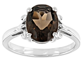 Pre-Owned Brown Smoky Quartz Rhodium Over Sterling Silver Solitaire Ring 2.50ct