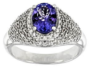 Pre-Owned Blue Tanzanite Rhodium Over Sterling Silver Ring 1.58ctw