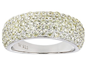 Pre-Owned Yellow Cubic Zirconia Rhodium Over Silver Ring