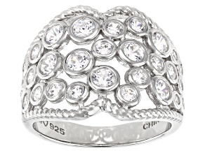 Pre-Owned White Cubic Zirconia Rhodium Over Sterling Silver Ring 2.42ctw