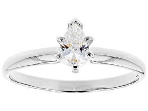 Pre-Owned White Cubic Zirconia Rhodium Over Sterling Silver Promise Ring 0.60ctw