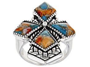 Pre-Owned Spiny Oyster Shell and Turquoise Rhodium Over Silver Ring