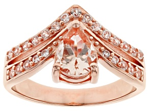 Pre-Owned Pink Morganite 18k Rose Gold Over Sterling Silver Chevron Ring 1.18ctw