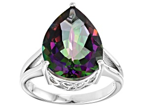 Pre-Owned Mystic Fire(R) green topaz rhodium over silver ring 8.62ct