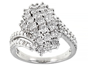 Pre-Owned White Diamond Rhodium Over Sterling Silver Cluster Ring 0.45ctw