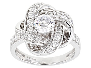 Pre-Owned White Cubic Zirconia Rhodium Over Sterling Silver Ring 2.80ctw