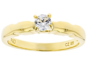 Pre-Owned White Cubic Zirconia 18K Yellow Gold Over Sterling Silver Promise Ring 0.40ctw