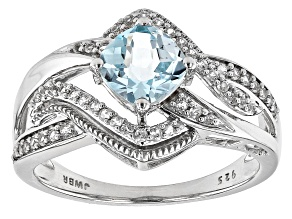 Pre-Owned Sky Blue Topaz Rhodium Over Sterling Silver Ring 1.51ctw