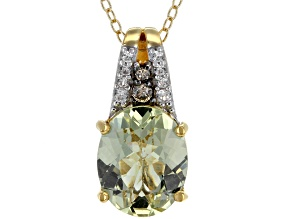 Pre-Owned Yellow apatite 18k gold over silver pendant with chain 3.27ctw