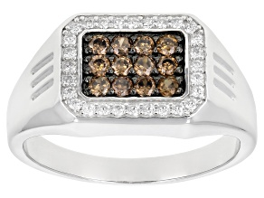Pre-Owned Brown and White Cubic Zirconia Rhodium Over Sterling Silver Mens Ring 1.20ctw