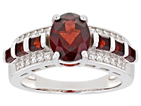Pre-Owned Red garnet rhodium over sterling ring 2.36ctw