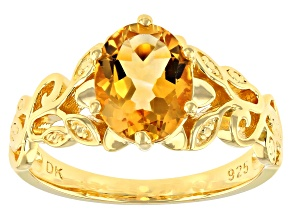Pre-Owned Yellow Citrine 18k Yellow Gold Over Sterling Silver Solitaire Ring 1.45ct