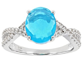 Pre-Owned Paraiba Blue Color Opal Rhodium Over Silver Ring .40ctw
