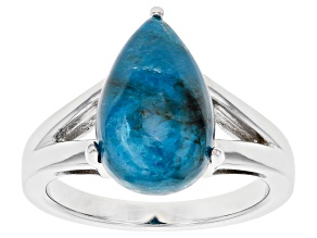 Pre-Owned Blue Apatite Rhodium Over Sterling Silver Solitaire Ring