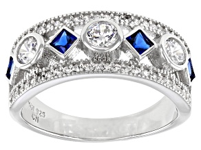 Pre-Owned Blue And White Cubic Zirconia Rhodium Over Sterling Silver Ring 1.70ctw