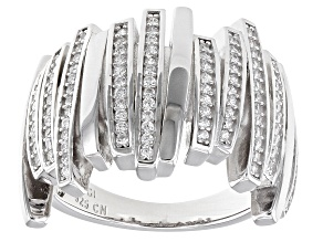 Pre-Owned White Cubic Zirconia Rhodium Over Sterling Silver Ring 1.05ctw