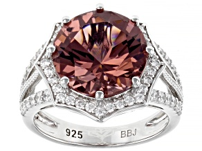 Pre-Owned Blush Zircon Simulant And White Cubic Zirconia Rhodium Over Sterling Silver Ring 7.46ctw
